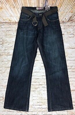 Lee Dungaree Boys Jeans Size 18 Dark Wash Slim Bootcut Belted New With Tags