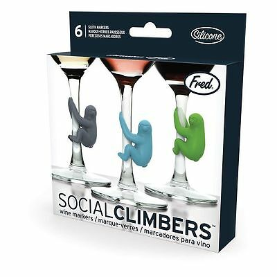 NEW Fred Social Climbers Sloth Party Wine Glass Markers FREE Postage