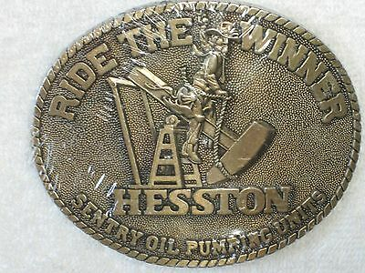 Sentry Oil Pumping Unit Vintage Adult Buckle, Ride the Winner Hesston Orig. Pkg.