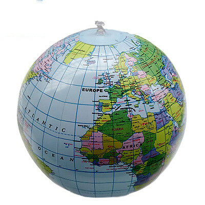 PVC Inflatable Blow Up World Globe 40CM Earth Atlas Ball Map Geography Toy