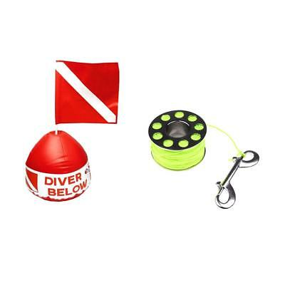 Scuba Flag Marker with Inflatable Buoy + 31m 2mm Diving Spool with Bolt Snap