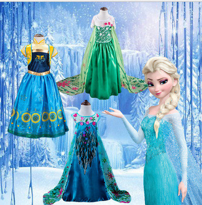 FROZEN KIDS DRESS QUEEN Disney ELSA ANNA PRINCESS COSTUME PARTY Cosplay  SNOW