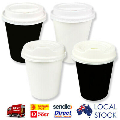 Take away single wall coffee cups (8oz/12oz)  Black White Disposable C Lids