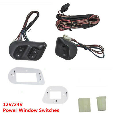 12V/24V Universal Car Pickup Power Window Switches with Holder & Wire Harness
