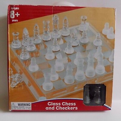 Glass Chess & Checkers Set Kid Connection New In Box