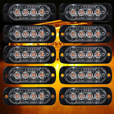 10pcs Amber CREE 4 LED Truck Emergency Beacon Warning Hazard Flash Strobe Light