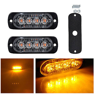 2x 12/24V Amber Recovery Strobe 4 CREE LED Light Orange Grill Breakdown Flashing