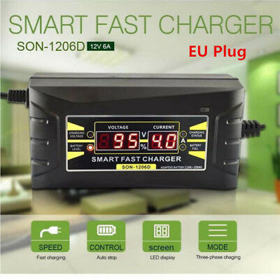 12V 6A Ultrasafe Intelligent Car Motorcycle Battery Charger LCD Display EU Plug&