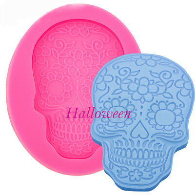 Halloween Skull Mould Fondant Cake Chocolate Silicone Molds Cupcake Baking Tool