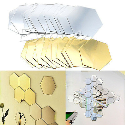 12Pcs DIY 3D Mirror Hexagon Vinyl Removable Wall Sticker Decal Home Decor Art