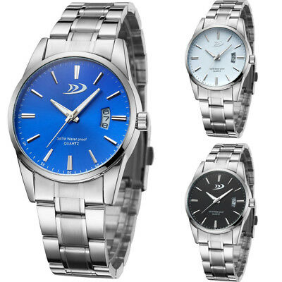 Luxury Stainless Steel Men's Date Analog Quartz Silver Black Blue Wrist Watch