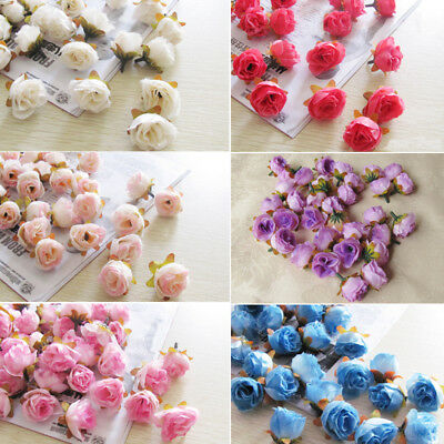 10Rose Bud Decal Synthetic Flowers Faux Silk Mini Rose Buds Wedding Home Drcor
