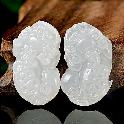 2pc Beautiful Exquisite Chinese White Natural Jade Pendant  Amulet brave troops