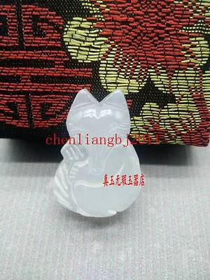 Beautiful Exquisite Chinese White Natural Jade Pendant Amulet fox