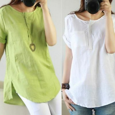 AU Women Short Sleeve Cotton Linen T-shirt Summer Casual Loose Blouse Solid Tops