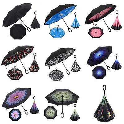 C Handle Windproof Inverted Folding Trendy Upside Down Double Layer Umbrella Csy
