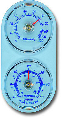 Slate Blue Dial Thermometer Twin Dial Temperature and Humidity Meter - 30/412/2