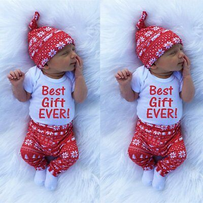 3PCS Newborn Kids Baby Boys Girl Xmas Clothes Romper Tops+Pants+Hat Outfits Set