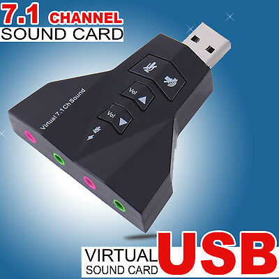 USB 2.0 to 3D AUDIO SOUND CARD EXTERNAL ADAPTER VIRTUAL 7.1 CH MIC Headphone