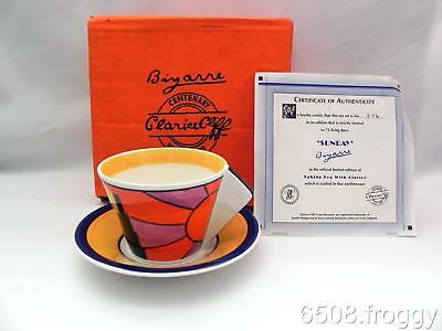 W/WOOD-CLARICE CLIFF-Connical Cup / Saucer **SUNRAY** - Boxed - COA - Mint