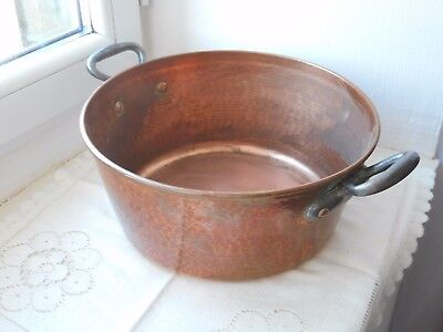 stunning vintage French hand hammered copper jam pan / cooking pot