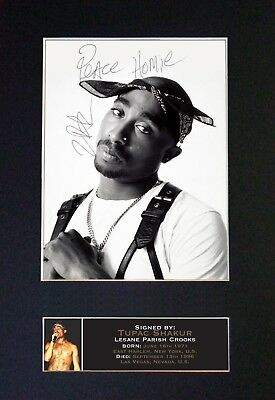 TUPAC SHAKUR Rapper Mounted Signed Photo Reproduction Autograph Print A4 664