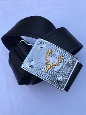 Real Leather Kilt Belt & Buckle Set With Chrome Buckle & Gold Stag Head Badge