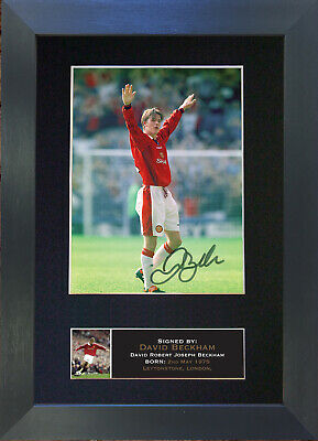 DAVID BECKHAM MAN UTD Mounted Signed Photo Reproduction Autograph Print A4 669