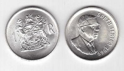 South Africa – Silver 1 Rand Unc Coin 1969 Year Km#80.1 Donges