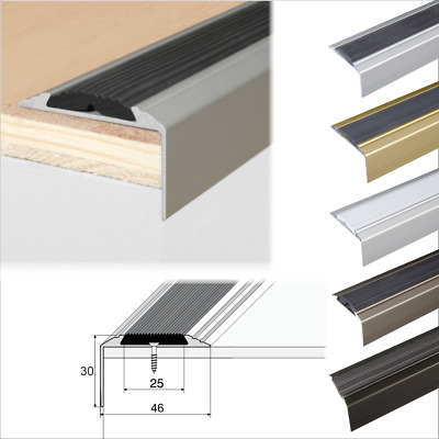 Anodised Aluminium Stair Nosing Edge Trim Step Nose Edging Nosings-120 cm long
