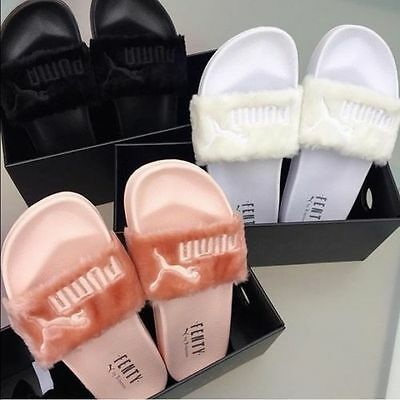 Fenty PUMA by Rihanna Fur Slide Women Slippers Sandals Black Grey Pink White