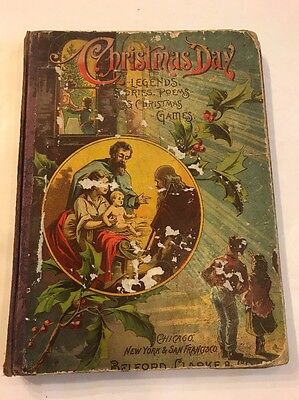 Antique 1889 Childrens Book CHRISTMAS DAY Stories Games Handford Decor