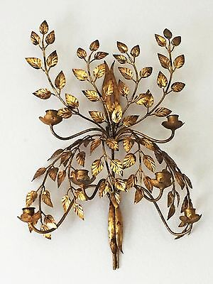 """23"""" Hollywood Regency Gilt Metal 6-Candle Italian Tole Wall Sconce Sculpture"""