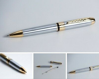 Parker Refillable Quality Ball Point Black Pen in Stainless Steel Silver & Black