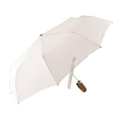 Classic Wooden Handle with Engraved Just Married Handle White Wedding Umbrella
