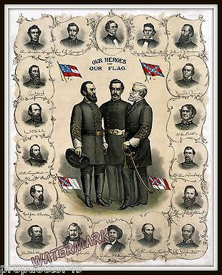 Historical Photograph Civil War Confederate Officers Collection Year 1896  11x14