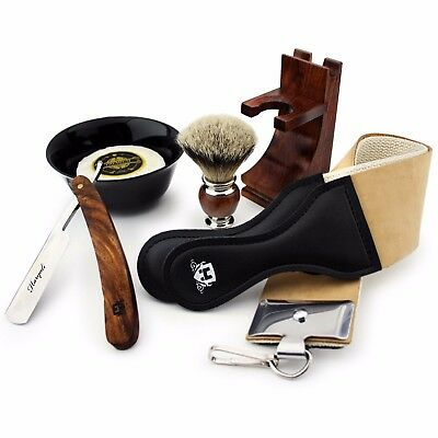 Rose Wood Made 5 PCs Men's Shaving Set With Pure Slivertip Hair Brush,Razor etc