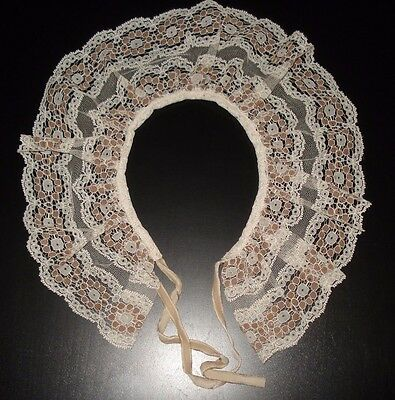 Antique Lace Collar Velvet Ribbon Ivory With Brown Darling!