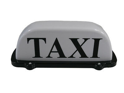 "TAXI ROOF SIGN WHITE 12"" 30cm AERODYNAMIC TAXI METER TOPSIGN MAGNETIC CAB LIGHT"