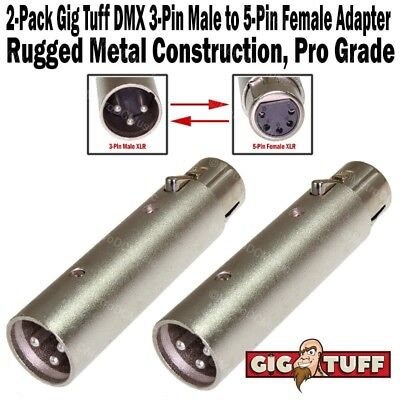 2-Pack Gig Tuff DMX 3-Pin Male XLR to 5-Pin Female Adapter Cable Metal 3M5F NEW