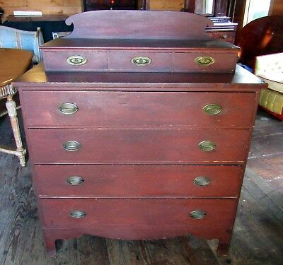 Country Hepplewhite Chest In Old Red Paint