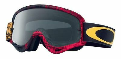 Oakley O Frame Goggles 2017 Distress Tagline Red Grey Lens Enduro Motocross Bmx