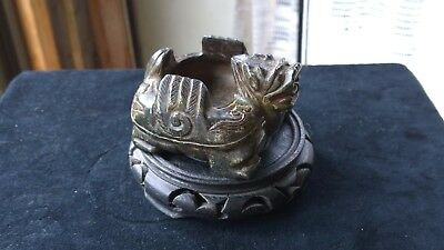 Old Chinese Black--Green Hard Stone Coupe/Brush Washer Turtle-Dragon w/Wings.