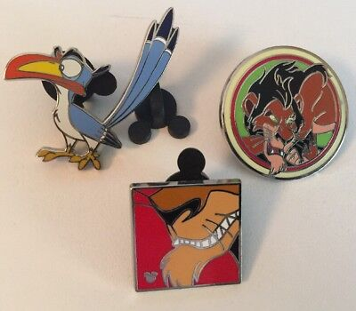 Lot of 3 The Lion King Zazu and Scar Disney Pins
