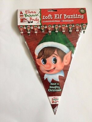 Elves Behavin Badly Elf BUNTING 20FT CHRISTMAS XMAS DECORATION PARTY KIDS FUN