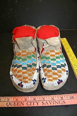 SIOUX / PLAINS BEADED MOCCASINS, White, green, red, mustard, blue, Beads