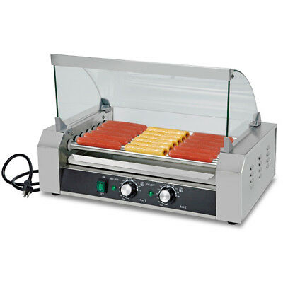 Tabletop Commercial 18 Hotdog Hot Dog 7 Roller Grill Cooker Machine W/Cover US