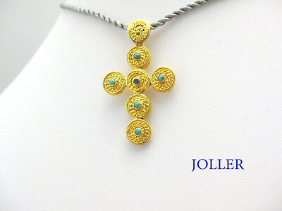Handmade Cross Sterling Silver 24K Gold Plated Sapphire Turquoises By Joller