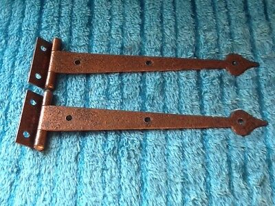 Vintage Mid-Century Hammered Copper Plated English Arts & Crafts T-Strap Hinges