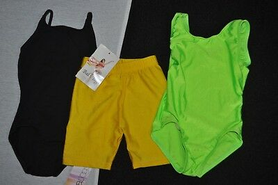 New Bal togs child size small Dancewear lot, lime leotard yellow shorts blk leo